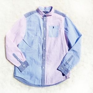 Ralph Lauren seersucker button down pink blue XL